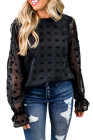 Blusa de manga larga con volantes y estampado de pompones de encaje negra