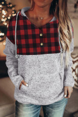 Red Plaid Splicing Pocketed Grey Hoodie
