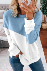 Light Blue Patchwork Dropped Shoulder Sleeve Genser