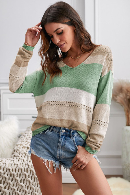Green V Neck Colorblock Knitted Sweater with Hollow-out