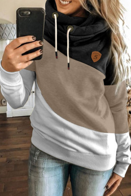 Black Colorblock Cowl Neck Pullover Hoodie