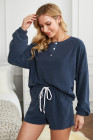 Blue Cotton Blend Slouchy Set