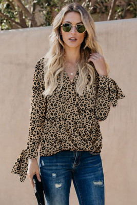 Leopard Surpliced V Neck Draped Top with Knotted Sleeves