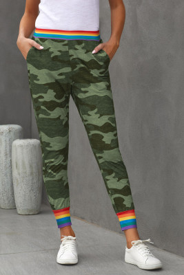 Rainbow Stripe Green Camo Casual Pants