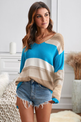 Sky Blue V Neck Colorblock Knitted Sweater with Hollow-out