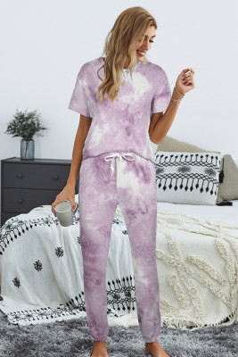 Purple Tie-dye T-shirt Pants PJ Set