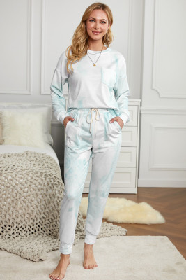 Sky Blue Tie-dye Knit Lounge Set