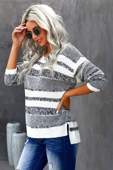 Weiß gestreifter Pullover Strickpullover