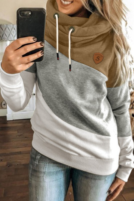 Multicolor Colorblock Cowl Neck Pullover Hoodie