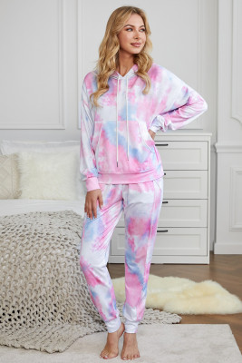 Pink Shut-eye Pocketed Tie-dye Knit Hooded Joggers Set