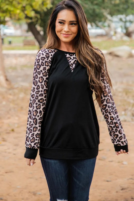 Black Leopard Long Sleeve Top