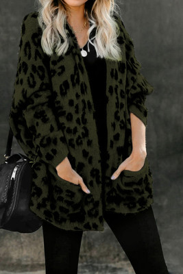 Green Leopard Pocketed Cardigan