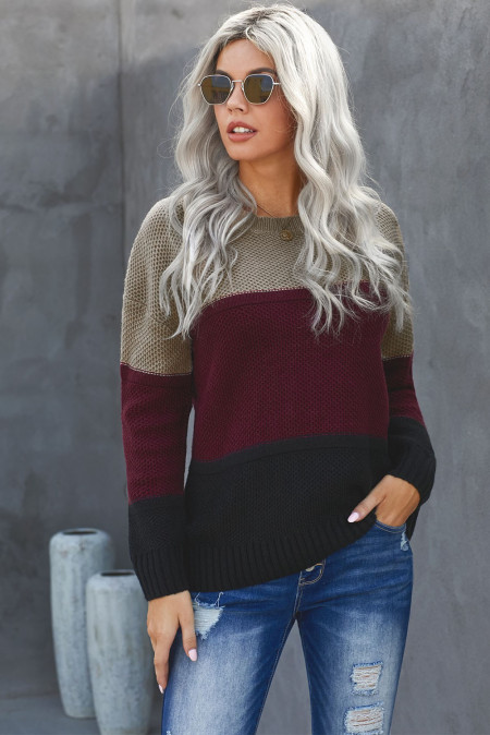 Color Block Netted Texture Pullover Sweater