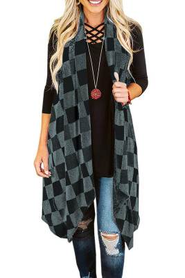 Gray Plaid Asymmetric Sleeveless Cardigan