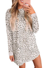 Leopard Print Crew stûyê milê dirêj Mini Dress
