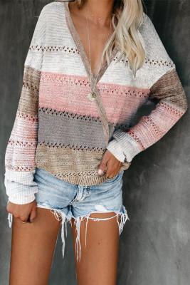 Suéter cruzado con cuello en V profundo y bloque de color multicolor