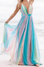 فستان ماكسي مخطط شوجر بلوم أزرق سماوي