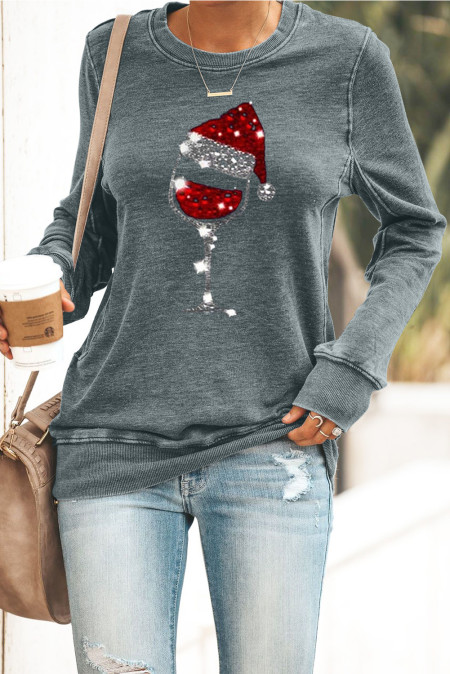 Graue Weihnachtsmütze Weinglas Print Pailletten Sweatshirt