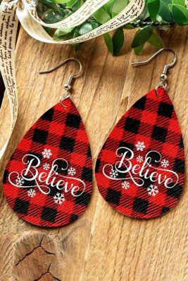 Red Christmas Buffalo Plaid Snowflake Believe Water Drop Oorbellen