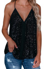 Black Sequin Racerback Tank
