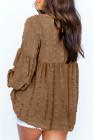 Top marrón con mangas de linterna y lunares con cuello en V