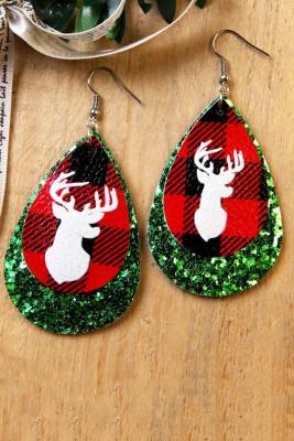 أقراط قلادة البراقة عيد الميلاد الخضراء