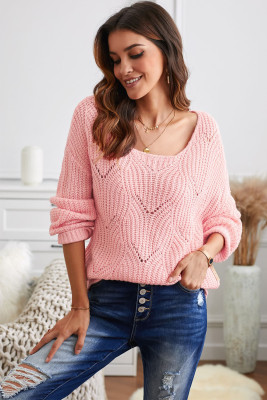 Pink Hollow-out Round Neck Knitted Sweater