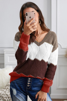 Brown V Neck Colorblock Textured Knit Sweater