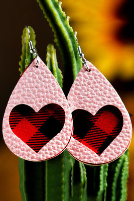 Pink Plaid Love Heart Dual-Layered PU Leather Earrings