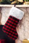 زينة شجرة عيد الميلاد جورب طباعة منقوشة حمراء
