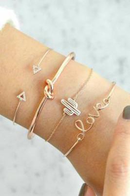 4 stuks Love & Cactus armbanden