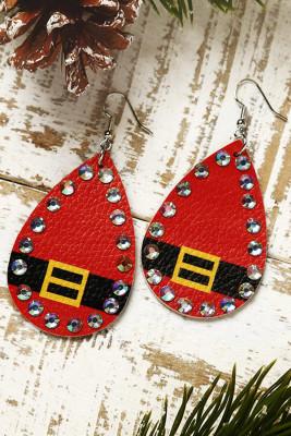 Rode kerst Strass kralen lederen oorbellen