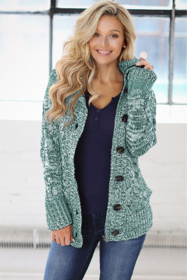 Green Long Sleeve Button-up Hooded Cardigans