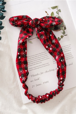 Serre-tête bowknot à carreaux noir et rouge à imprimé de Noël