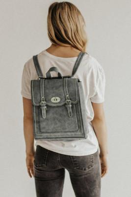 Серый рюкзак-трансформер из веганской кожи
