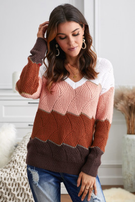 White V Neck Colorblock Textured Knit Sweater
