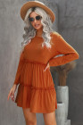 Orange Long Sleeve Ruffled Solid Swing Mini Dress