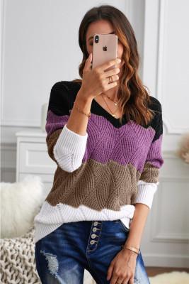Suéter de punto texturizado color block con cuello en V negro