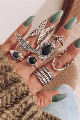 8st Boho ronde legering met diamanten ringen