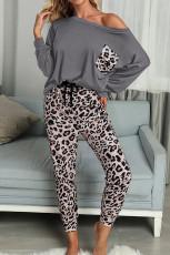 Set casual de pantaloni leopard cu mâneci lungi gri gri