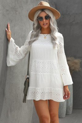 White O Neck Flare Sleeve Solid Color Hollow Out Mini Dress