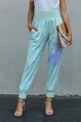 Pantalones casuales de bolsillo con efecto tie-dye azul cielo con abertura