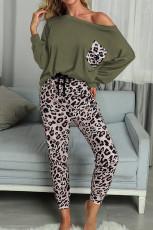 Zelená ležérní sada s dlouhým rukávem Leopard Pants Loungewear