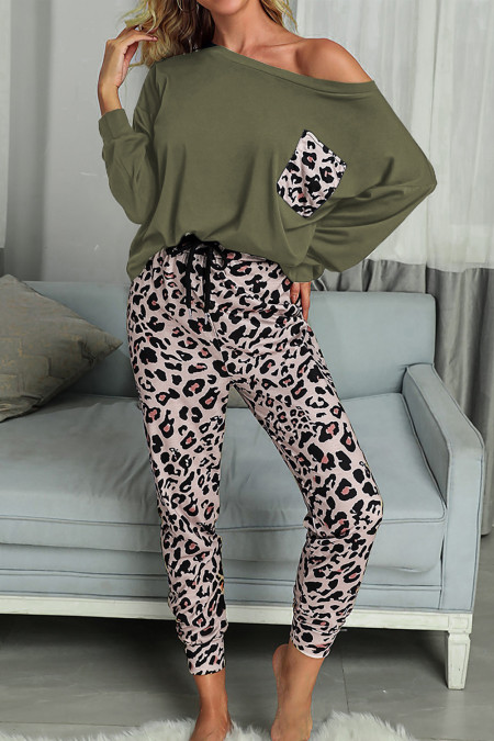 Green Casual Long Sleeve Leopard Pants Loungewear Set