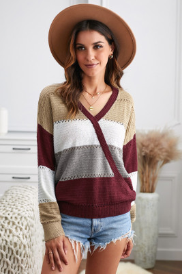 Wine Color Block Deep V Neck Wrap Sweater