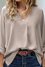 Apricot V Neck 3/4 Sleeve High Low Hem Shirt