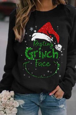 Schwarzes Weihnachts-Grinch-Druck-Sweatshirt