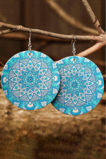 Brincos mandala geométrica vintage azul claro paisley