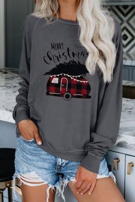 Pull de Noël à col rond gris