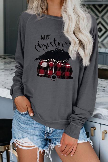 Graues Weihnachts-Sweatshirt mit Rundhalsausschnitt und Modedruck